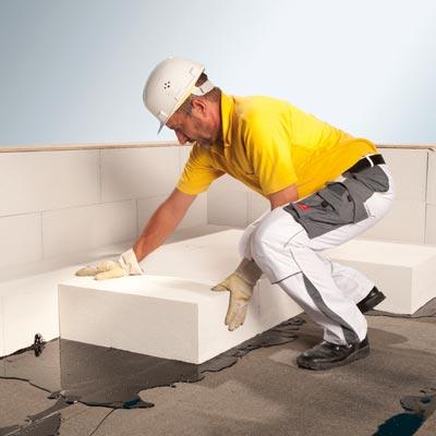 Multipor plošče - polaganje blokov na ravni strehi